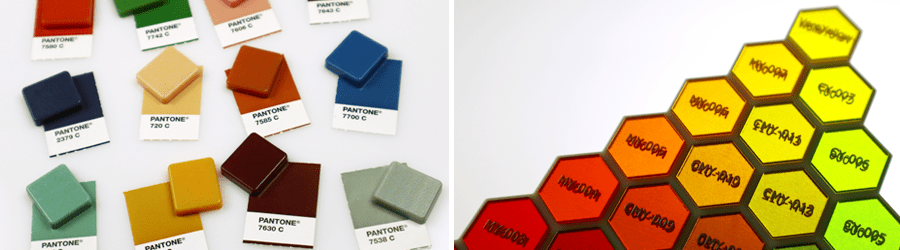 3D Printed PMS color swatches and transparent tints