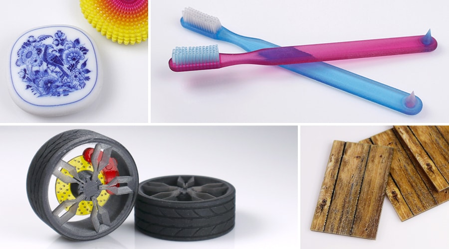 Several projects showcasing multi-color and multi-material 3D Printing